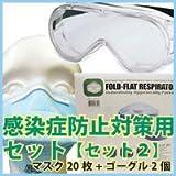 【N95】 新型インフルエンザ感染予防対策セット 【セット2】(N95マスク20枚+無気孔ゴーグル2個)