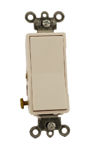15 Amp 120/277 Volt, Decora Rocker Lighted Handle, Illuminated Off 4-Way AC Quiet Switch, Residential Grade, Grounding, Almond/Ivory/White/Light Almond, 5614-2