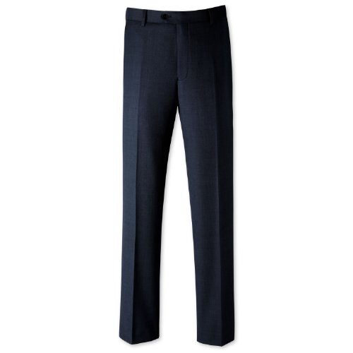 Charles Tyrwhitt Blue birdseye classic fit suit trouser (32W x 38L Unfinished)
