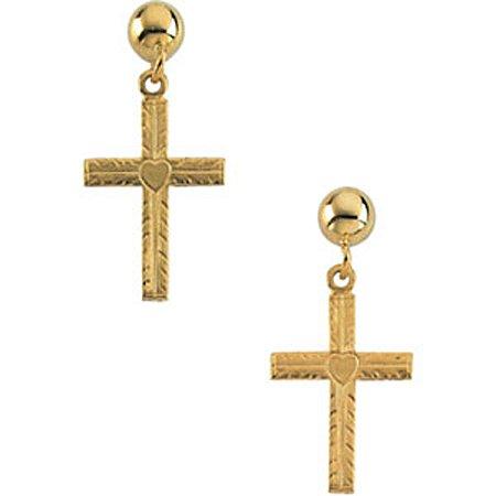 Christian Crucifix Earrings - 14K Yellow Gold - 13mm