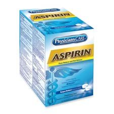 Acme United Corporation Products - Physicians Care Brand Aspirin, 2/PK, 50PK/BX - Sold as 1 BX - Aspirin acts as a pain reliever and fever reducer. Aspirin temporarily relieves headaches, toothaches, and minor aches and pains. Each dose of two tablets is