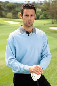 Glenmuir Mens Finlay Lightweight Merino Wool V Neck Golf Sweater (L, Paradise)