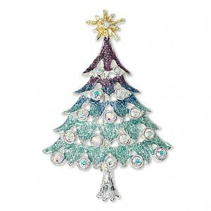 Brooch, Pure Silver-colored Pewter with Enamel and Crystal Diamond-Look Rhinestones