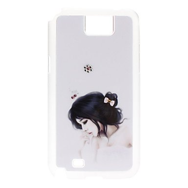 AES - Bath Towel Girl Pattern Hard Case with Rhinestone for Samsung Galaxy Note 2 N7100