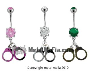 CAMOUFLAGE HAND CUFFS BELLY RING BNAHCC1PK- PINK