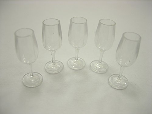 5 Acrylic Wine Glass Dollhouse Miniatures Accessories Beverage Supply 12484 (Dollhouse Supplies compare prices)