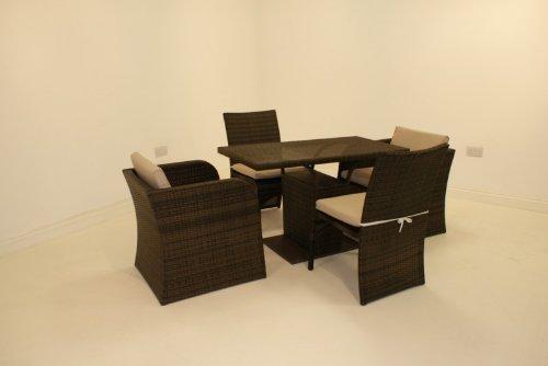Rattan-Gartenmöbel Exeter Beistelltisch-set, 4-Sitzer, Braun