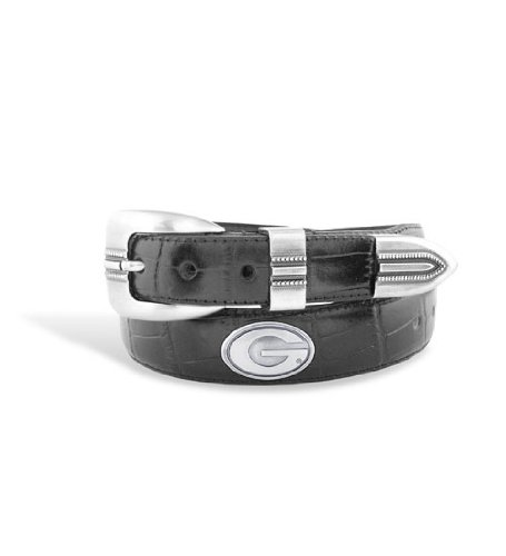 Georgia Mens Black Croco Leather Belt with Conchos - Emblems Size: 44 Black