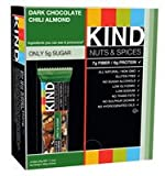 KIND Nuts & Spices, Dark Chocolate Chili Almond, 1.4 Ounce, 12 Count Bars