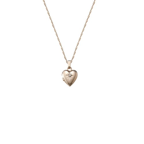 Children's 14k Small Diamond Heart Locket Necklace, 13
