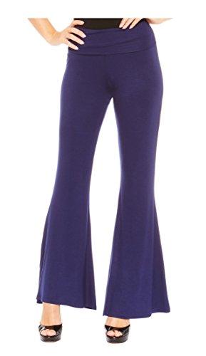 Red Hanger Women's High Waist Palazzo Bell Bottom Pants Regular and Plus Sizes, Navy-S