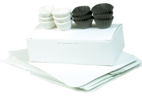 Cybrtrayd BUN1/2LBCBCC 1/2 LB Candy Box and Candy Cup Combo (1 Dozen 1/2-Pound White Candy Boxes with 250 No.3 Brown Candy Cups and 250 No.3 White Candy Cups)