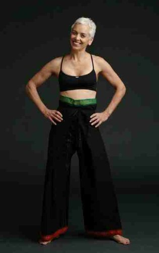 Unisex Yoga Trousers Fisherman Style in BLACK with GREEN/RED Trims