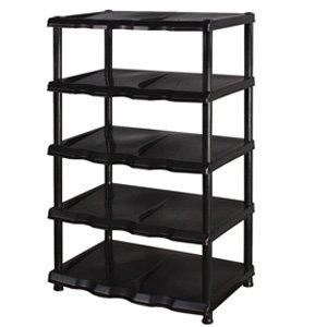 5 Tier Black Plastic Shoe Rack Shelf: Amazon.co.uk ...