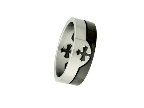 Two-tone Stainless Steel 2 Piece Ring - 9
