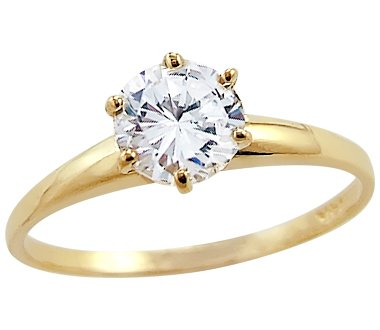 Size 8 Solid 14k Yellow Gold Round Solitaire Cz Cubic Zirconia Engagement Ring 1 0 Ct Sam L Garveyije