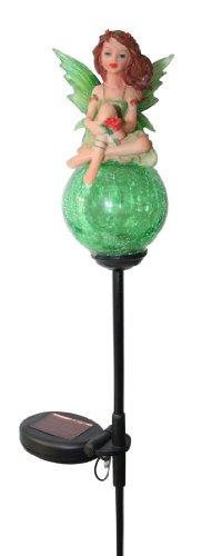 Solar Wholesale Crackle Glass Ball Garden Decor Tinkerbell Lights, Green