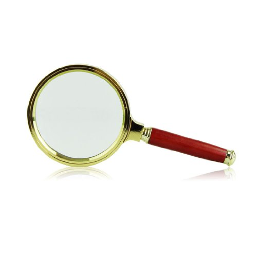 Voberry 80Mm Diameter 15X Optical Lens Loupe Rosewood Handle Gold Tone Magnifying Glass