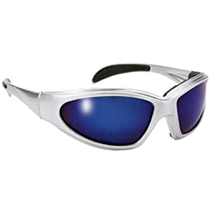 Choppers Silver Wrap around Sport Sunglasses Blue Mirrored Lens