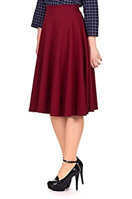 Dani's Choice Feminine Stretch High Waist Flared Circle Skater Midi Skirt