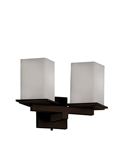 Justice Design Group Fusion Montana 2-Light Wall Sconce with Artisan Glass Shade, Dark Bronze/White ...