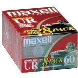 Maxell UR-60 Blank Audio Cassette Tape, 8 Pack