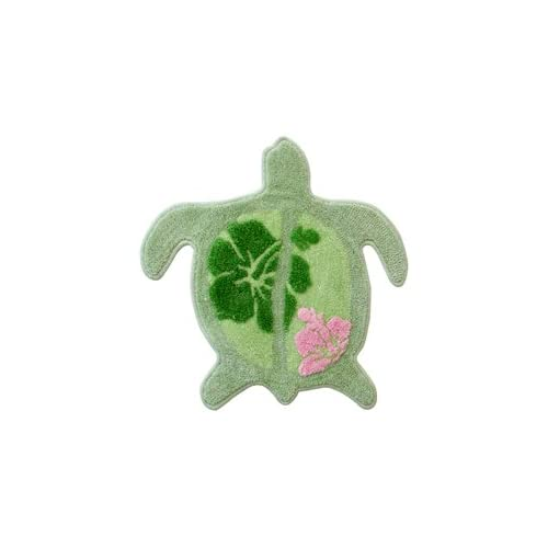 Sea Turtle Shaped Area Rug Lime Green Bath Mat Tropical