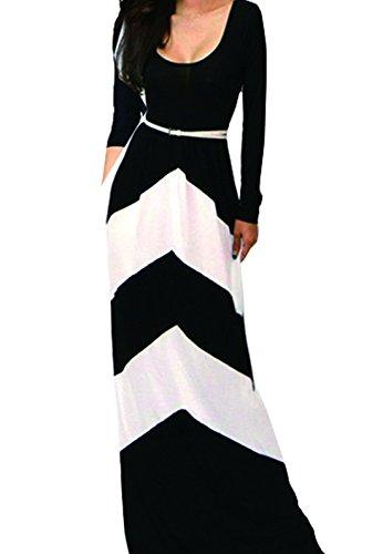 Vakind® Women'S Chevron Color Blocked Long Sleeve Empire Waisted Maxi Dress (L=Us6, Black+White)