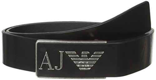 Armani Jeans Men's R3 Belt with Leather Logo Buckle, Black, 34 (Belts Men Armani compare prices)
