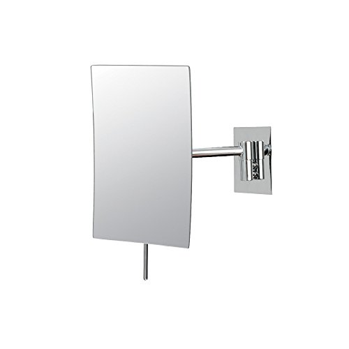 Mirror Image 21843 Minimalist Rectangular Wall Mirror, 3X Magnification, Chrome