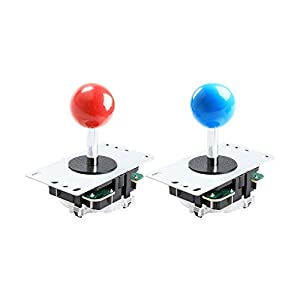 Qenker 2-Player LED Arcade DIY Kit for USB MAME PC Game DIY & Raspberry Pi Retro Controller DIY Including 2X Arcade Joystick, 20x LED Arcade Buttons, 2X Zero Delay USB Encoder (Blue & Red) (Color: Blue & Red)