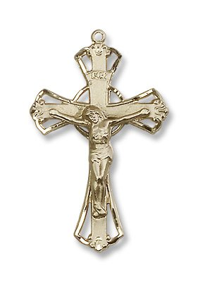 Gold Filled Crucifix Pendant Cross Medal with 18