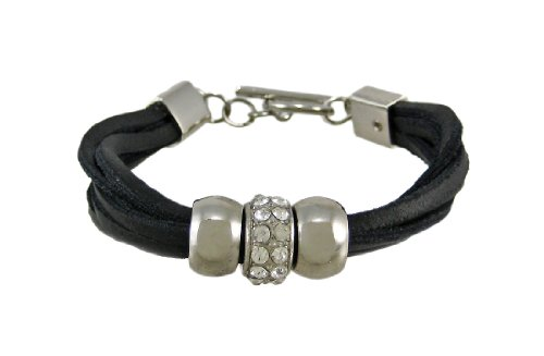 Black Leather 3 Bead Multi Strand Bracelet