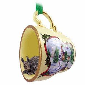 Armadillo Teacup Snowman Christmas Ornament