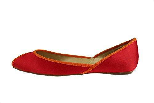 HOGAN 36,5 EU ballerine donna raso rosso arancione AH725