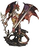 StealStreet Red And Gold Dragon with Armor Metal Staff Sword Statue