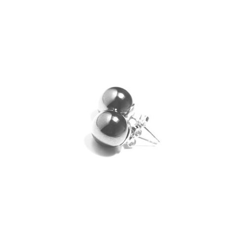 apop nyc Genuine 6mm Round Hematite Stud Earrings Sterling Silver