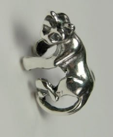 A Pair of Kitty Cat on an Ear Cuff in Sterling Silver