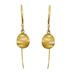 18k Yellow Gold Ball Matt Spark Earrings - JewelryWeb