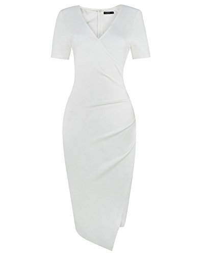 OUGES Womens Deep V-Neck Asymmetrical Fold Sheath Dress, White, Large
