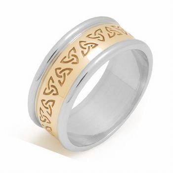 14K Gold 7Mm Two Tone Celtic Trinity Knot Wedding Band C4012 - Size 9