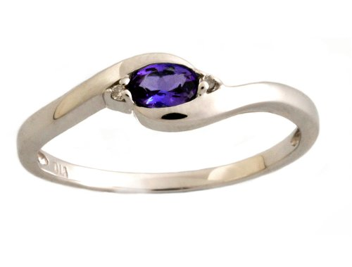 9ct White Gold Diamond And Tanzanite Bypass Ring