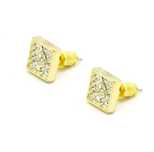 Men'S Iced Out Square Gold Plated With Clear Crystals Cubic Cz Hip Hop Micro Pave Bling Stud Earrings
