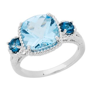 Blue Topaz and 925 Sterling Silver Ring
