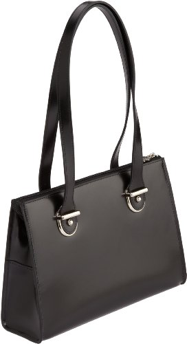 Jack Georges Milano Italian Leather Handbag,Black,One Size