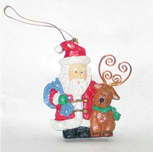 Christmas Tree Ornament Frosted Santa Claus & Reindeer – 1999 Vintage Figurine