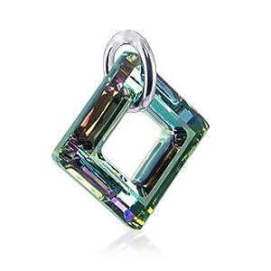 square vitrial light swarovski crystal sterling silver pendant charm