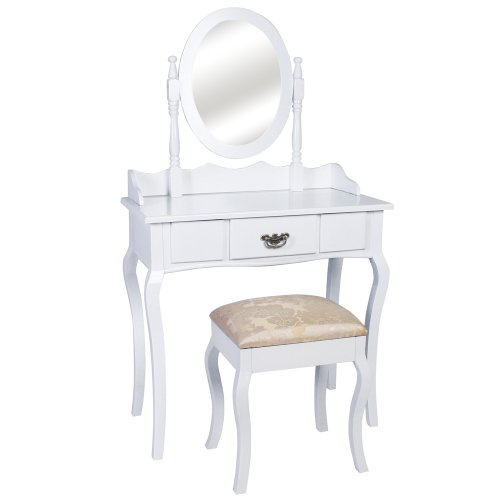 Jago SMKT02 Dressing table with mirror and stool white wood
