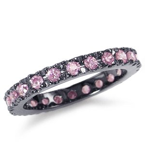 Pink CZ 925 Sterling Silver Eternity Band Stack/Stackable Ring Size 7
