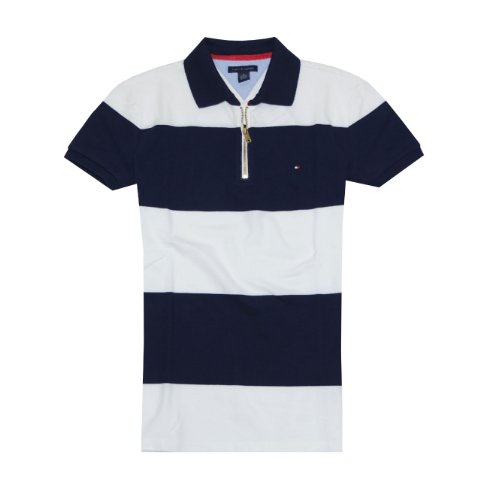9bb14f12a3900 Tommy Hilfiger Women Fashion Stripe Polo With Zipper T-Shirt (XL ...